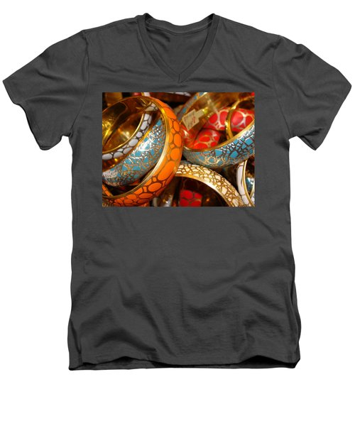 Men's V-Neck T-Shirt featuring the photograph Bling by Ira Shander