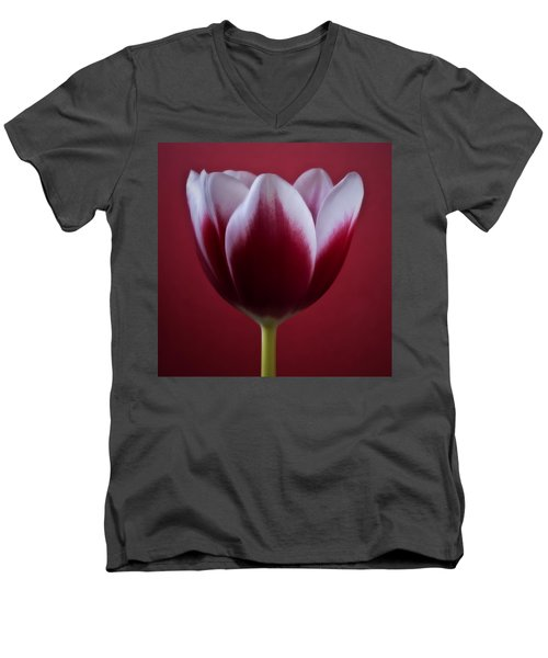 Men's V-Neck T-Shirt featuring the photograph Abstract Red White Flowers Tulips Macro  Photography Art by Artecco Fine Art Photography