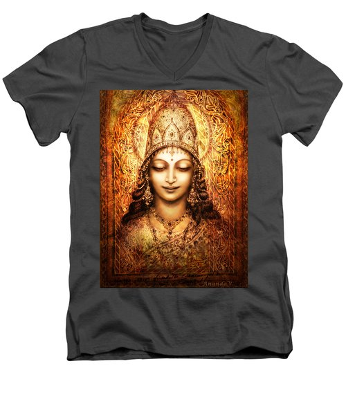 Men's V-Neck T-Shirt featuring the mixed media Blissful Goddess by Ananda Vdovic