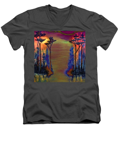 Men's V-Neck T-Shirt featuring the painting Blood Roots by David Mckinney