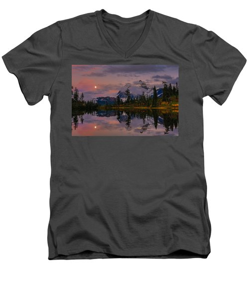 Bloodmoon Rise Over Picture Lake Men's V-Neck T-Shirt by Eti Reid