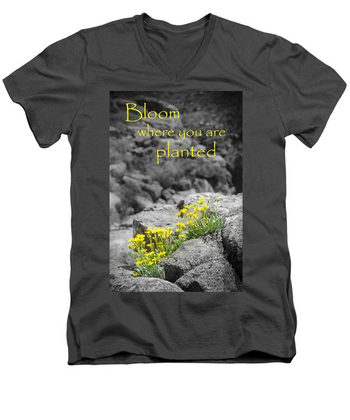Bloom Where You Are Planted Men's V-Neck T-Shirt by Debbie Karnes