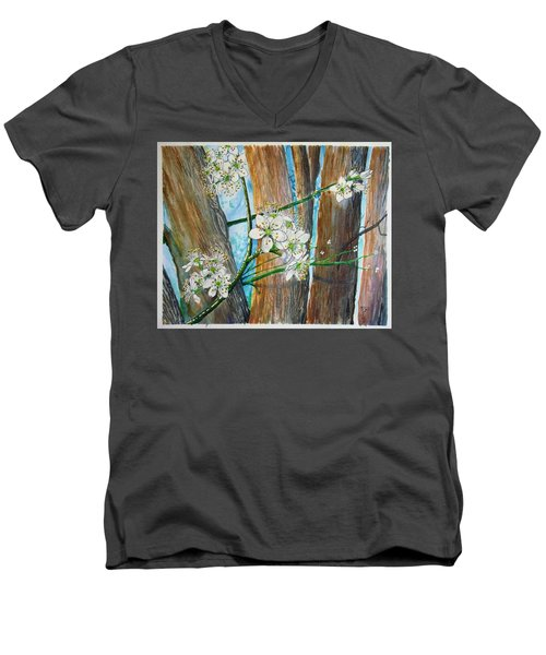 Blooms Of The Cleaveland Pear Men's V-Neck T-Shirt