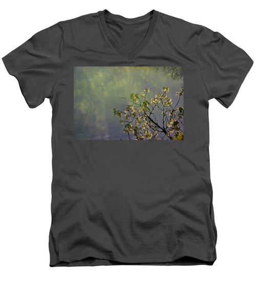 Men's V-Neck T-Shirt featuring the photograph Blossom Reflection by Marilyn Wilson