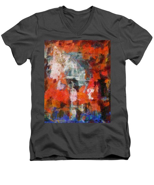 Men's V-Neck T-Shirt featuring the digital art Blows Away In The Wind by Joe Misrasi