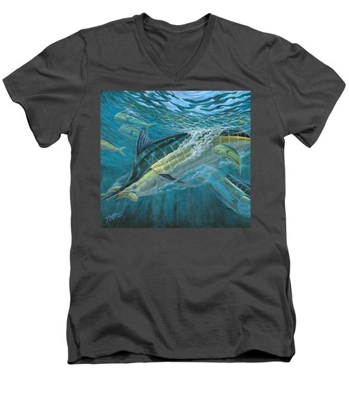 Blue And Mahi Mahi Underwater Men's V-Neck T-Shirt