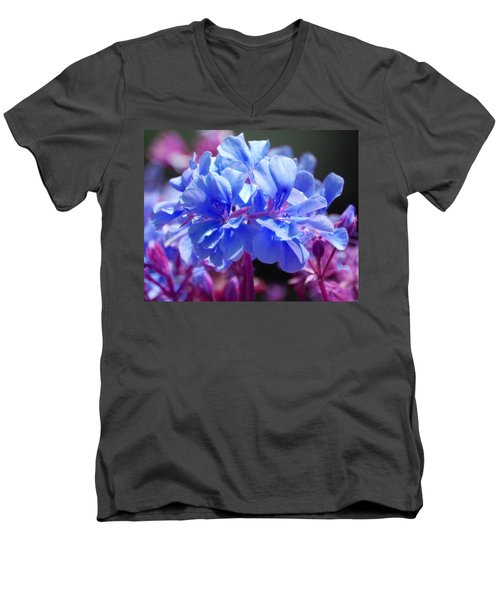 Men's V-Neck T-Shirt featuring the photograph Blue And Purple Flowers by Matt Harang