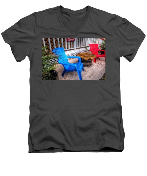 Men's V-Neck T-Shirt featuring the digital art Blue And Red Chairs by Michael Thomas
