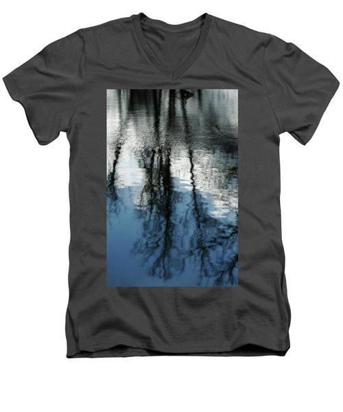 Blue And White Reflections Men's V-Neck T-Shirt
