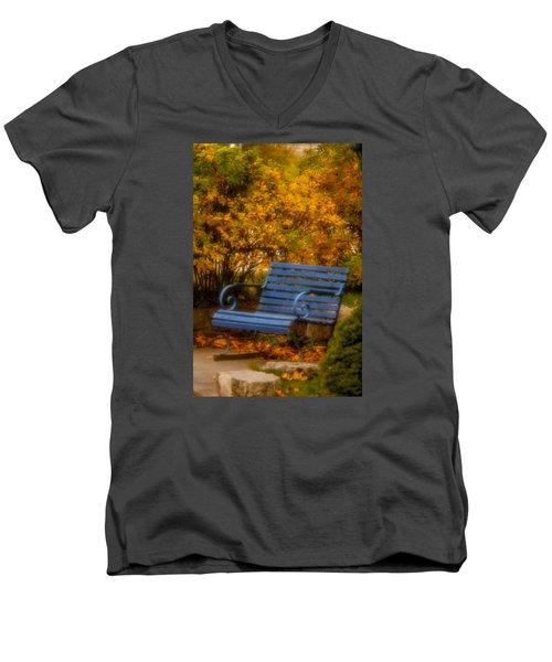 Blue Bench - Autumn - Deer Isle - Maine Men's V-Neck T-Shirt