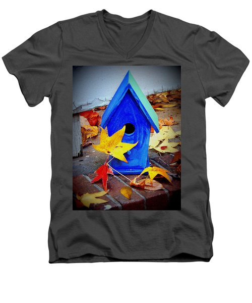 Men's V-Neck T-Shirt featuring the photograph Blue Bird House by Rodney Lee Williams