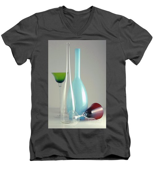 Men's V-Neck T-Shirt featuring the photograph Blue Bottle #2 by Elf Evans
