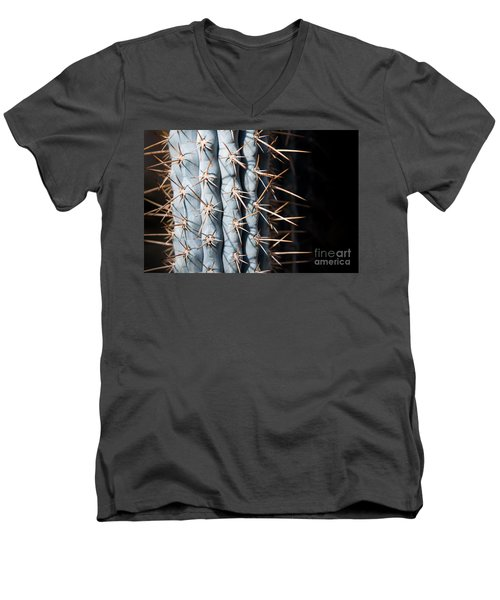 Men's V-Neck T-Shirt featuring the photograph Blue Cactus by John Wadleigh