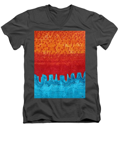 Blue Canyon Original Painting Men's V-Neck T-Shirt by Sol Luckman