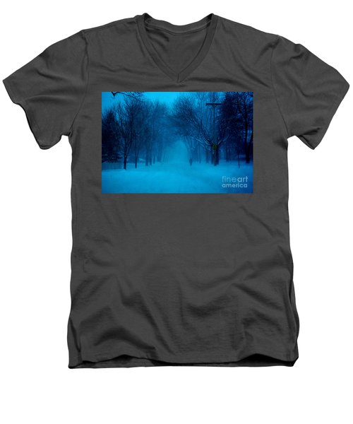 Blue Chicago Blizzard  Men's V-Neck T-Shirt