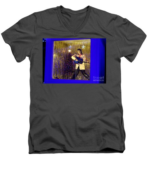 Blue Christmas Without Elvis Men's V-Neck T-Shirt by Kathy  White