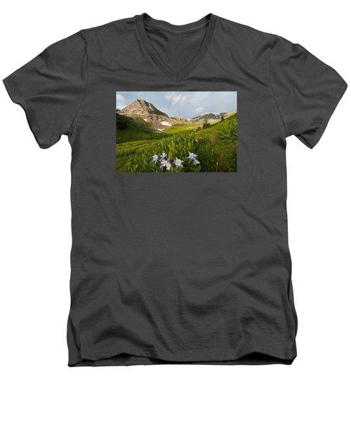 Handie's Peak And Blue Columbine On A Summer Morning Men's V-Neck T-Shirt
