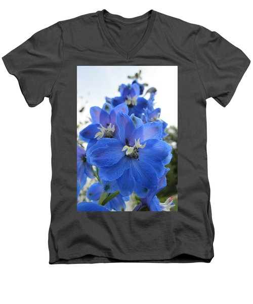 Blue Delphinium Rising Men's V-Neck T-Shirt