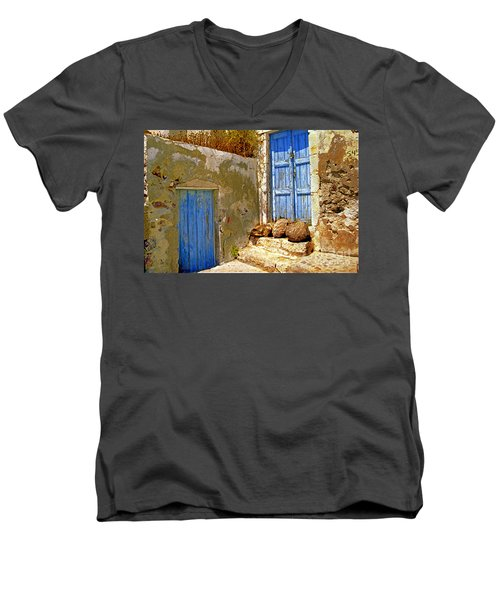 Blue Doors Of Santorini Men's V-Neck T-Shirt by Madeline Ellis