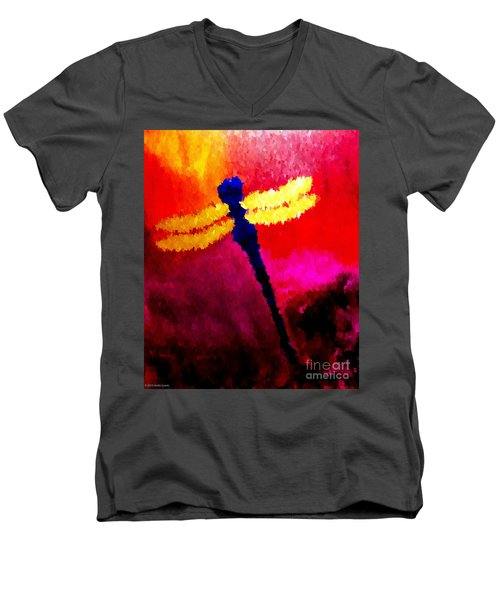 Blue Dragonfly No 2 Men's V-Neck T-Shirt by Anita Lewis