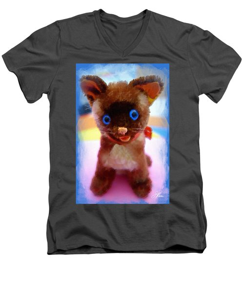 Blue Eyed Kitty Men's V-Neck T-Shirt by Joan Reese