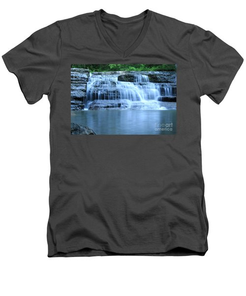 Blue Falls Men's V-Neck T-Shirt by Melissa Petrey