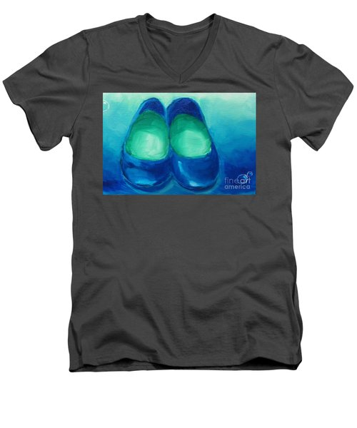 Men's V-Neck T-Shirt featuring the painting Blue Flats by Marisela Mungia