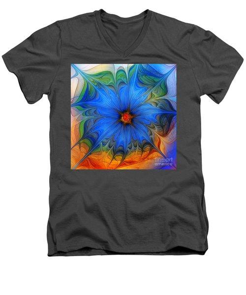 Blue Flower Dressed For Summer Men's V-Neck T-Shirt by Karin Kuhlmann