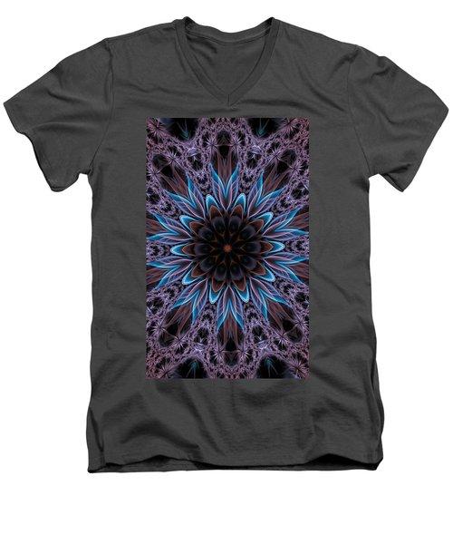 Men's V-Neck T-Shirt featuring the digital art Blue Flower by Lilia D