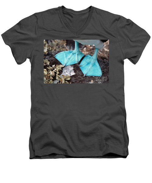 Blue-footed Booby Feet Men's V-Neck T-Shirt by Ron Sanford