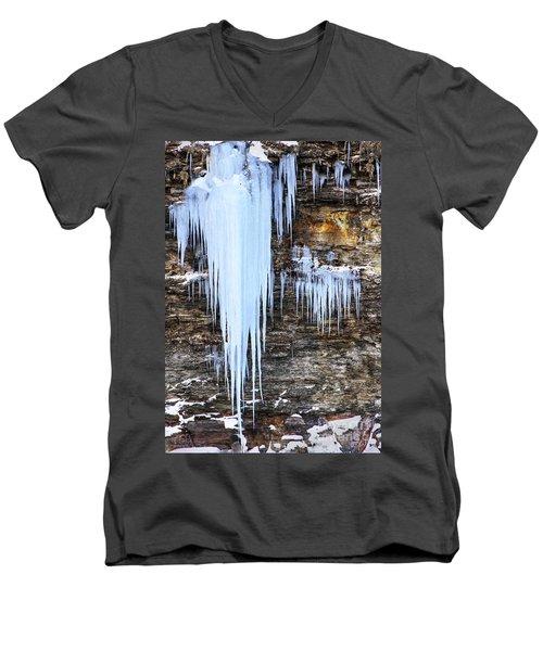 Blue Frozen Icicle Stalactites Men's V-Neck T-Shirt
