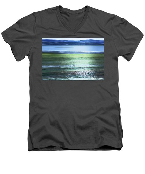 Blue Green Landscape Men's V-Neck T-Shirt