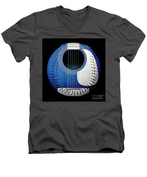 Blue Guitar Baseball White Laces Square Men's V-Neck T-Shirt