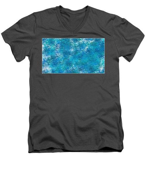 Men's V-Neck T-Shirt featuring the digital art Blue Haze... by Tim Fillingim