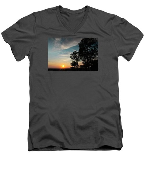 Men's V-Neck T-Shirt featuring the photograph Blue Heaven Sunset by Julie Andel
