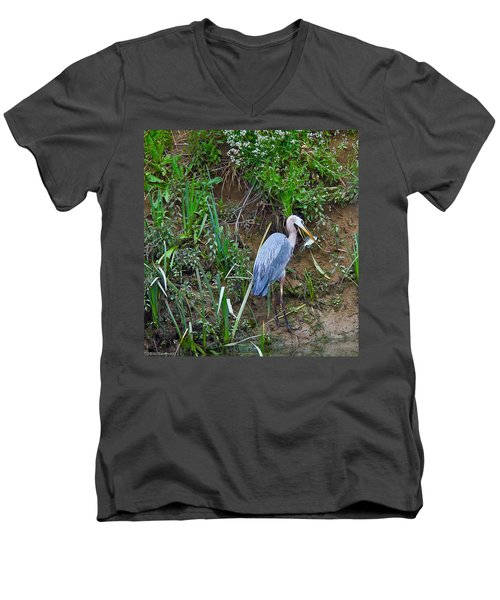 Men's V-Neck T-Shirt featuring the photograph Blue Heron by Brian Williamson