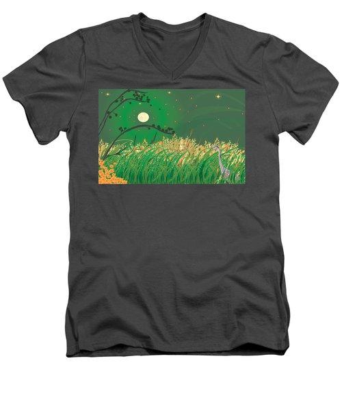 Blue Heron Grasses Men's V-Neck T-Shirt by Kim Prowse