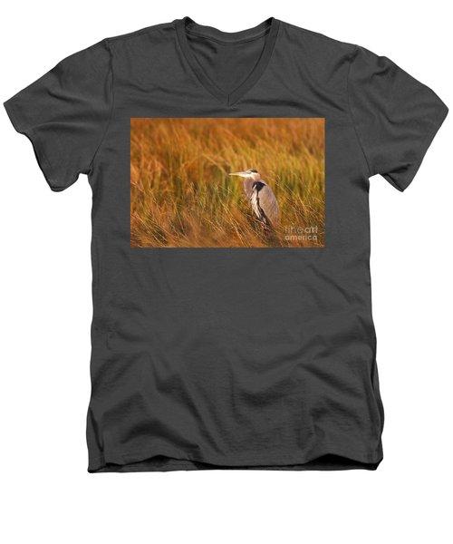 Men's V-Neck T-Shirt featuring the photograph Blue Heron In Louisiana Marsh by Luana K Perez