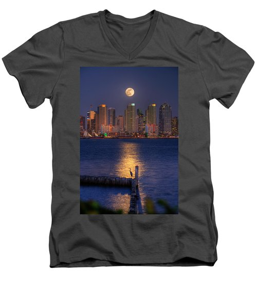 Blue Heron Moon Men's V-Neck T-Shirt