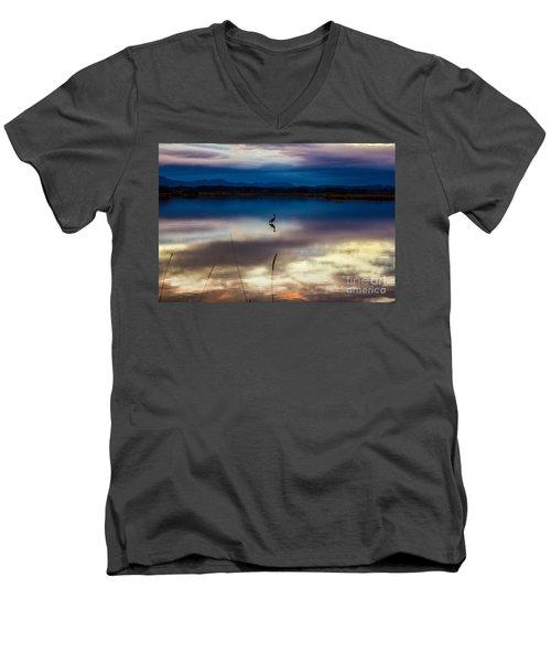 Blue Heron Sun Set Men's V-Neck T-Shirt