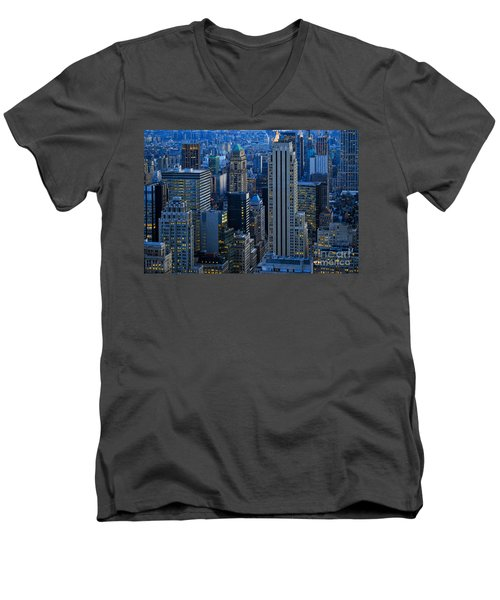 Blue Hour In New York City Usa Men's V-Neck T-Shirt by Sabine Jacobs