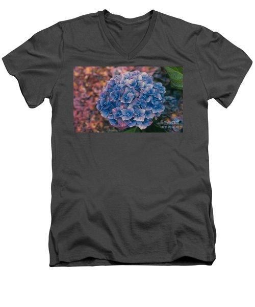 Blue Hydrangea Men's V-Neck T-Shirt by Heather Kirk