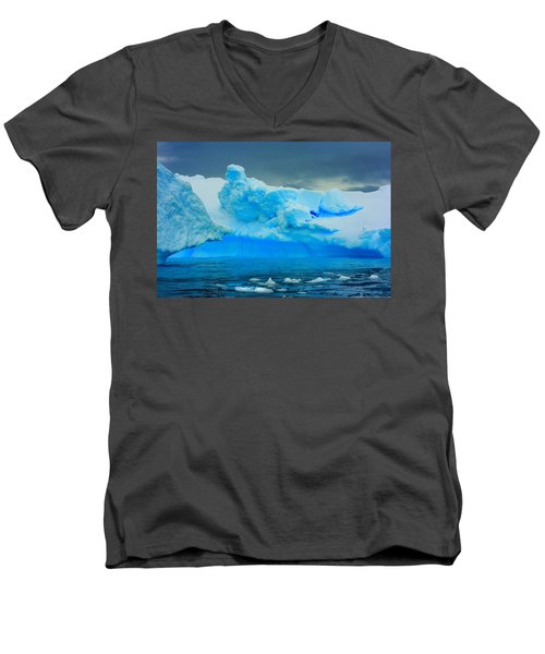 Men's V-Neck T-Shirt featuring the photograph Blue Icebergs by Amanda Stadther