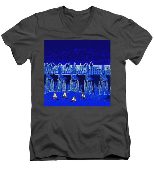 Men's V-Neck T-Shirt featuring the painting Blue II Toy Sailboats In Lake Worth by David Mckinney