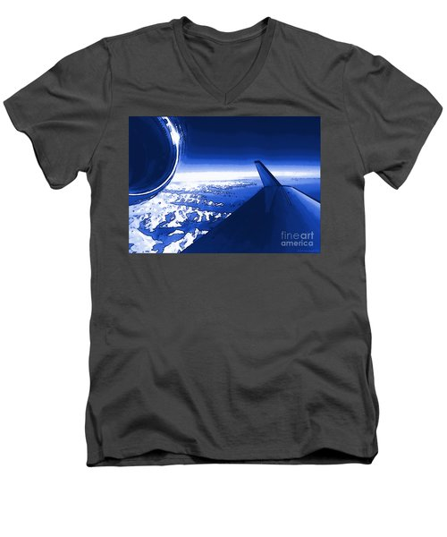 Men's V-Neck T-Shirt featuring the photograph Blue Jet Pop Art Plane by R Muirhead Art