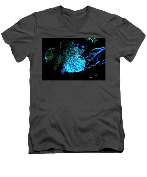 Blue Leaf Men's V-Neck T-Shirt by Randi Grace Nilsberg