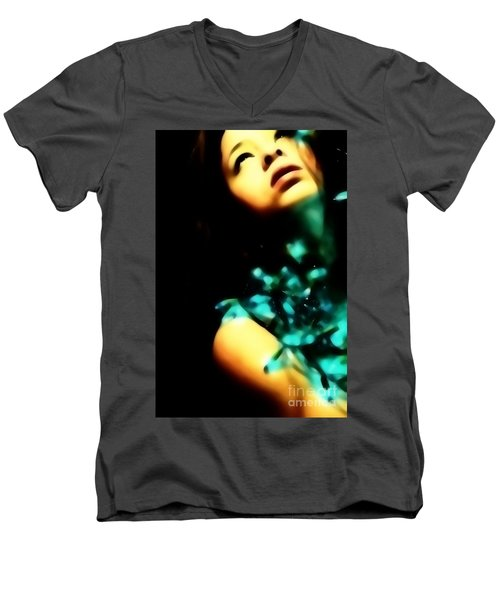 Men's V-Neck T-Shirt featuring the photograph Blue Lights by Jessica Shelton