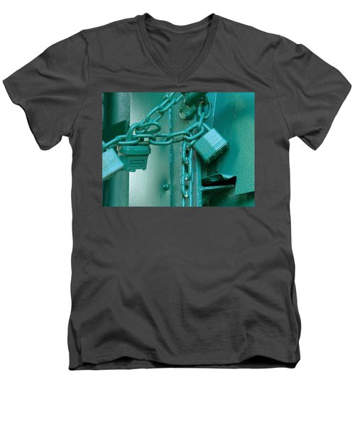 Men's V-Neck T-Shirt featuring the photograph Blue Locks by Rodney Lee Williams