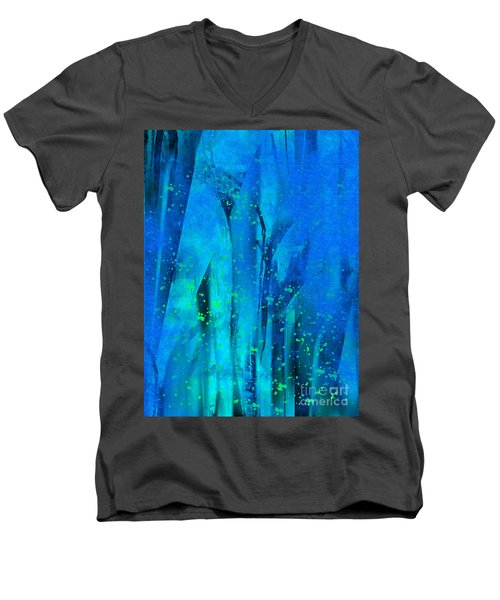 Men's V-Neck T-Shirt featuring the painting Feeling Blue by Yul Olaivar