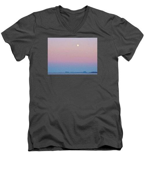 Blue Moon  Men's V-Neck T-Shirt by Deborah Lacoste